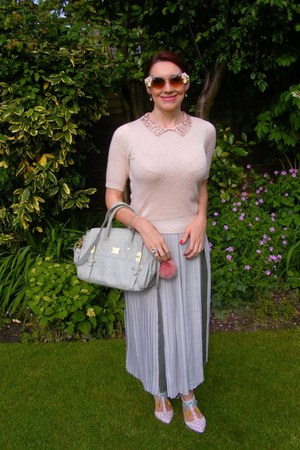 silver leather Modalu bag - Boden shoes - silver pleated asos skirt