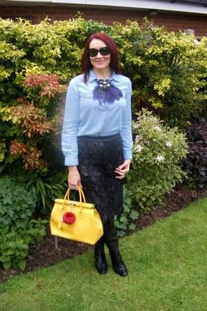 light blue chambray Zara shirt - black Zara skirt