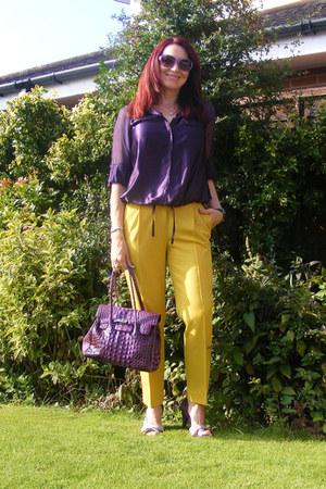 mustard asos pants - deep purple Reiss blouse