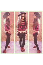 hot pink PacSun sweater - maroon Jeffrey Campbell boots