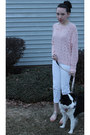 White-denim-express-jeans-light-pink-forever21-sweater