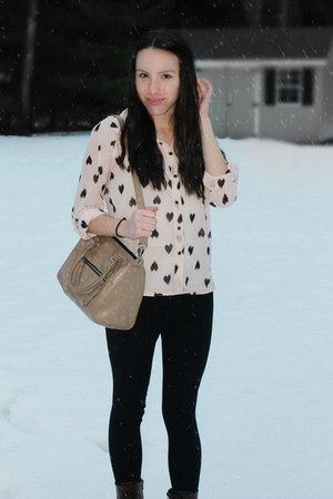 light pink marshals shirt - dark brown Target boots - black Express leggings