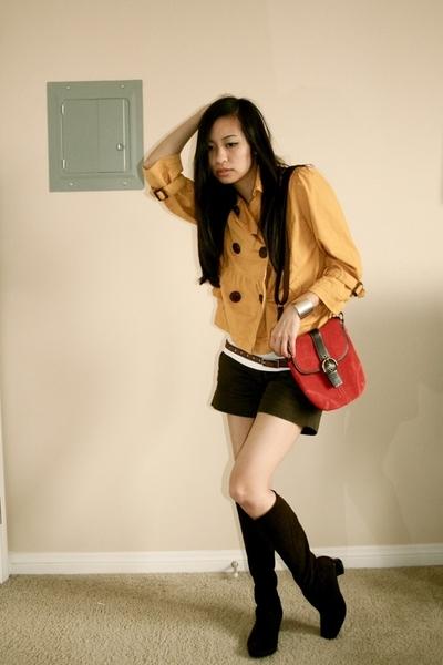 American Rag jacket - H&M shirt - Zara shorts - ae belt - Munro boots - coach pu