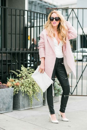 Boohoo coat - Zara leggings - Nordstrom pumps