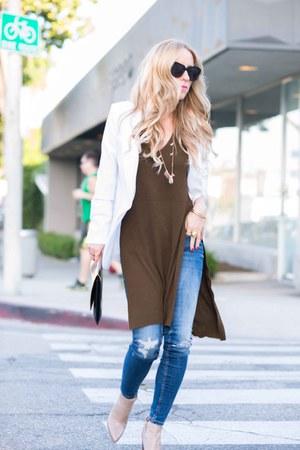 white Nordstrom blazer - ripped Zara jeans