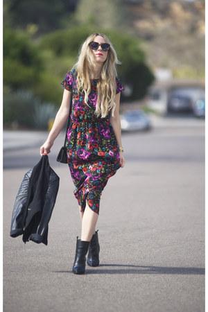 Forever 21 jacket - Zara boots - Boohoo dress
