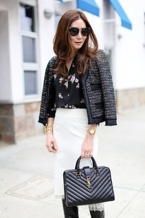 Saint Laurent bag - Frye boots - J Crew jacket - karen millen skirt