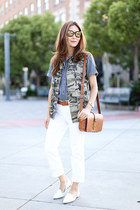 J Crew jeans - Saint Laurent bag - J Crew top - J Crew vest