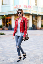 Zara jacket - Topshop jeans - Jerome Dreyfuss bag - Super sunglasses