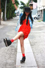 Red-h-m-dress-blue-urban-outfitters-shirt-black-urban-outfitters-hat-black