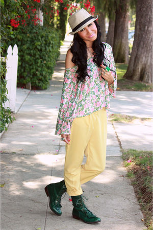 pink Topshop top - yellow American Apparel pants - green Urban Outfitters boots 