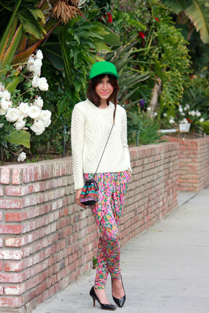 bubble gum floral H&M pants - black Zara shoes - green H&M hat