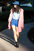 black Dolce Vita boots - pink faux fur storets coat - blue Oak NYC hat - light b