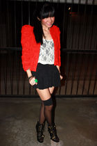 red H&M jacket - white Urban Outfitters top - black H&M shorts - black Urban Out