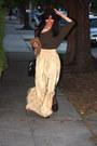 Army-green-zara-sweater-tan-california-select-vintage-skirt-dark-brown-zara-