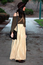 Army-green-zara-sweater-tan-california-select-vintage-skirt-dark-brown-zara-