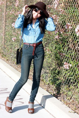 blue Zara shirt - blue BDG jeans - brown Urban Outfitters hat - brown sam edelma