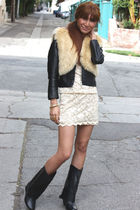 beige vintage vest - black H&M jacket - beige vintage dress - black Where boots