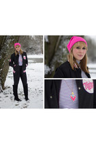 black varsity jacket ASOS Market Place jacket - hot pink beanie accessories hat