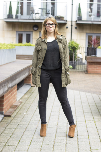 army green ark coat - bronze new look wedges