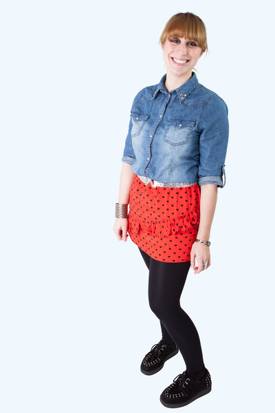 red heart skirt Topshop skirt - navy denim Primark shirt