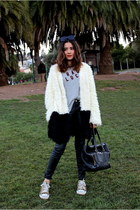 Mink Pink coat - faux leather H&M pants - brandy melville t-shirt