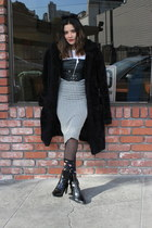 faux leather nastygal top - Zara boots - faux leather brandy melville bag