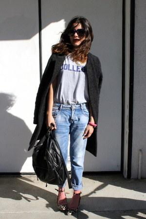 thrifted shirt - Zara jeans - Topshop socks - Zara heels