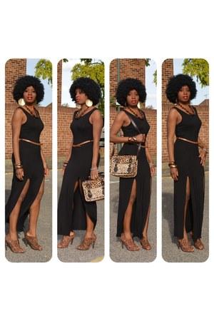 asos shoes - black double slit new look dress - asos bag