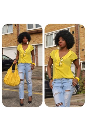 yellow new look jeans - black new look shoes - light yellow Dorothy Perkins bag