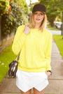 White-zara-shorts-black-aritzia-hat-yellow-topshop-sweater