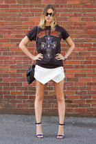 black H&M bag - white Zara shorts - blue Guess heels