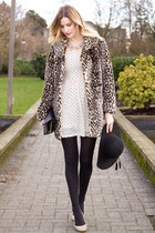 camel faux fur Urban Outfitters coat - eggshell Urban Outfitters dress