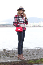 red asos bag - tan Vince Camuto boots - ruby red Zara coat