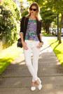 White-zara-jeans-black-aritzia-blazer-silver-botkier-bag-white-zara-wedges