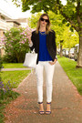 White-zara-jeans-black-aritzia-blazer-white-zara-bag-blue-guess-heels