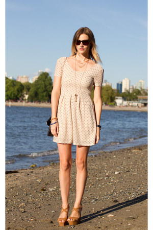 beige Urban Outfitters dress - black H&M bag - camel Zara wedges