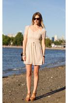 beige Urban Outfitters dress - black H&M bag - camel Zara wedges
