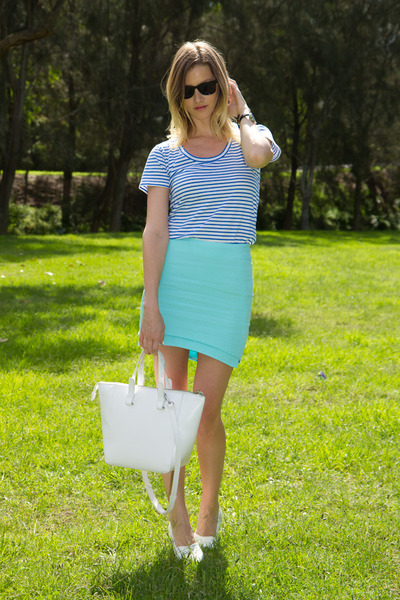white Zara bag - sky blue Witchery top - aquamarine Sheike skirt