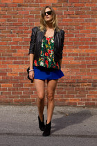 blue Choies skirt - black Forever 21 jacket - black Choies sunglasses
