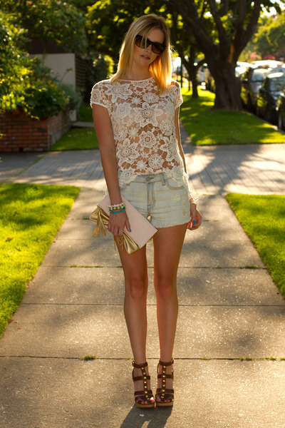 light blue XO Bella shorts - ivory Zara top
