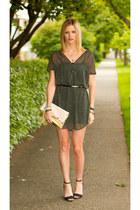 gray vintage dress - light pink H&M bag - black Zara heels