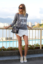white Zara shorts - heather gray XO Bella sweatshirt