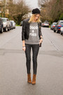 Brown-zara-boots-heather-gray-xo-bella-sweater-black-zara-pants