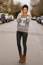 Brown-zara-boots-heather-gray-xo-bella-sweater-black-zara-pants