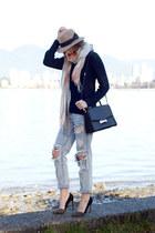 light blue One Teaspoon jeans - tan Holt Renfrew hat - light orange Gap scarf