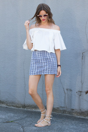 white Howl top - blue Topshop skirt - neutral Rebecca Minkoff sandals