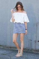 white Howl top - blue Topshop skirt - neutral Rebecca Minkoff sandals