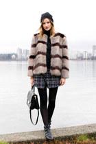 brown Nordstrom coat - black sam edelman boots - black kate spade bag