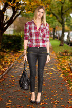 black coated denim Zara pants - maroon Aritzia shirt - black Michael Kors bag